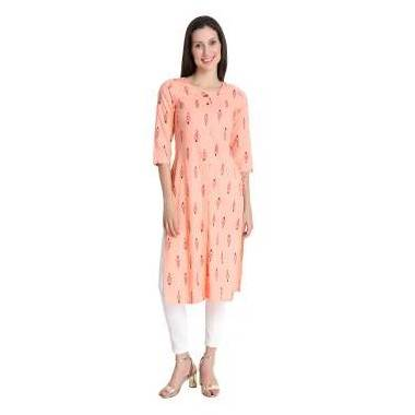 Peach Colour Cotton Kurti