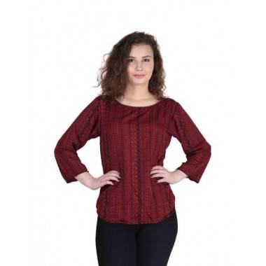 Maroon Fabric Crepe Top (1...