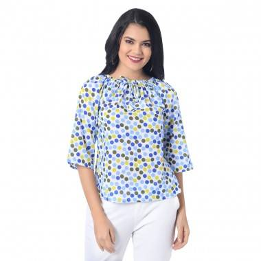 Sky Blue Polka-Dot Print Top