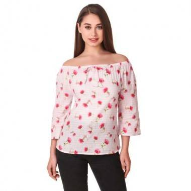 Off Shoulder Rose Printed...