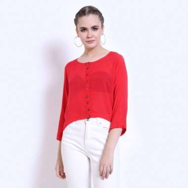 Rayon Crop Red Top