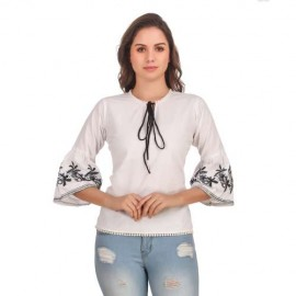 Rayon Embroidered Frill Sleeves Top