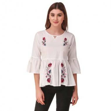Flower Tree Embroidered Top...
