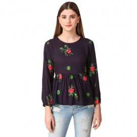 Floral Embroidered Long Sleeves Top