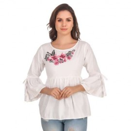Floral Embroidered Frill Sleeves Top