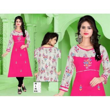 Fabric Rayon Long Kurti (1...