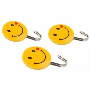 3pc smiley wall hook