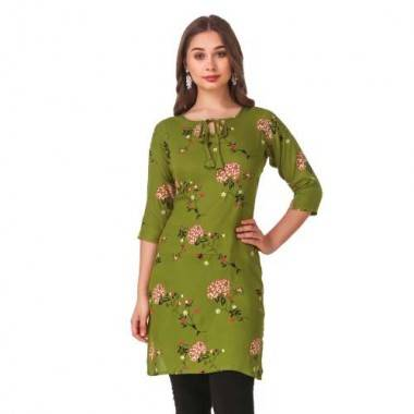 Green Colour Rayon Kurti